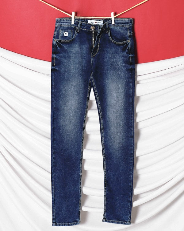 Greyish Blue Leather work heavy-fade Stretchable Jeans