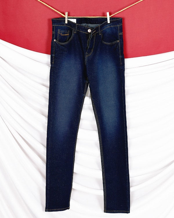 John- Dark Blue mid-rise Stretchable Jeans