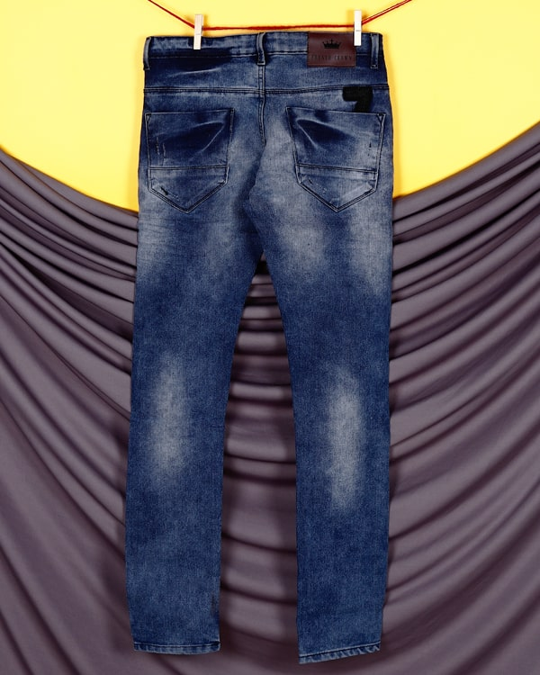 Evan - Mid Blue Heavy fade highly Distressed Stretchable Jeans