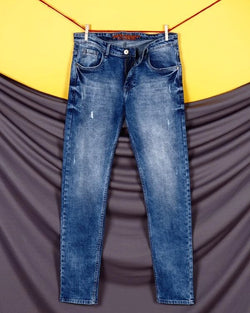 Austin - Sky Blue Mid-Rise Distressed Stretchable Jeans