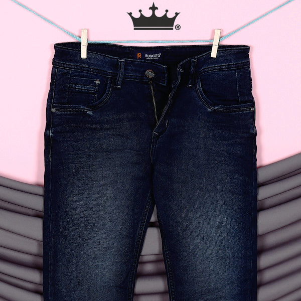 James-Dark blue mid-rise stretchable jeans