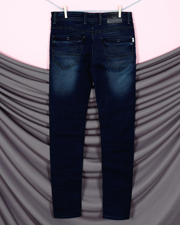 Axel- Dark Blue Mid-Rise Clean Look Stretchable Jeans