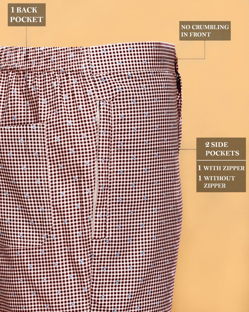 Red Micro Checked Lounge Pants