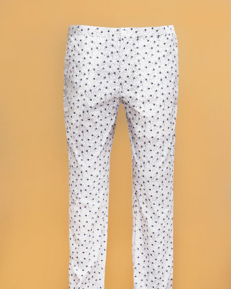 White Printed Lounge Pants