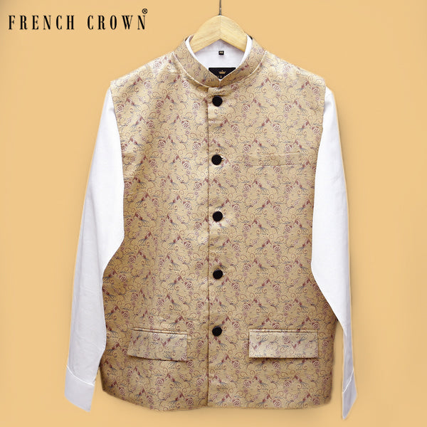 Cream flower Printed Premium Cotton Nehru Jacket