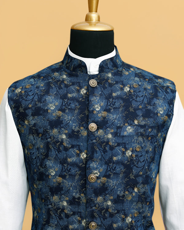 Blue Printed Premium Cotton Nehru Jacket