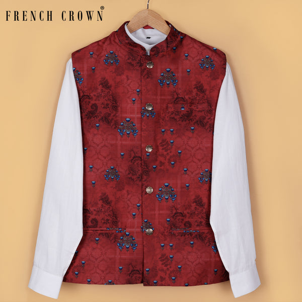 Rose Red Flower Printed Nehru Jacket