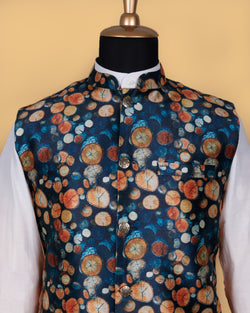 Slate Blue Wooden Log Printed Nehru Jacket