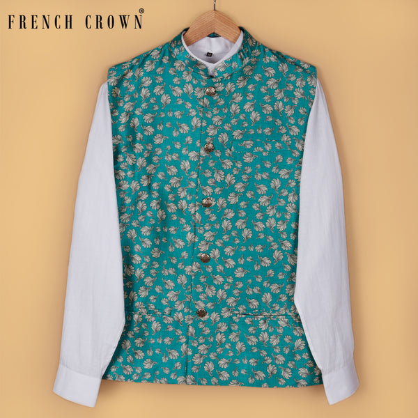 Pine Green Gobi Leaves Printed Nehru Jacket