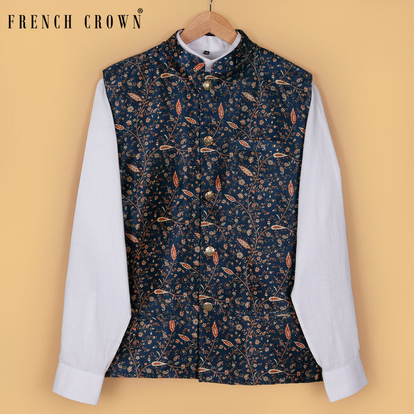 Royal Blue Printed Nehru Jacket