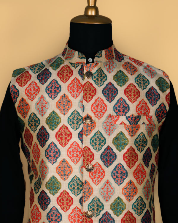 Cream with Multi-color Butta Printed Nehru Jacket