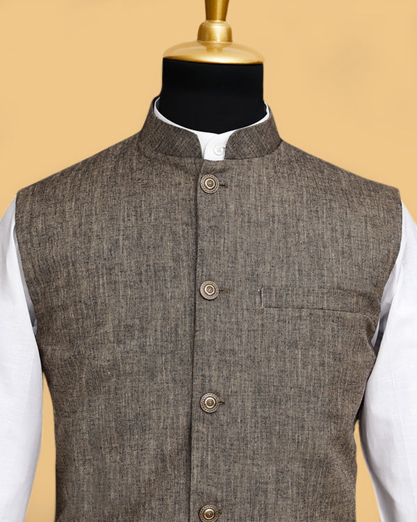 Brown LINEN Nehru Jacket