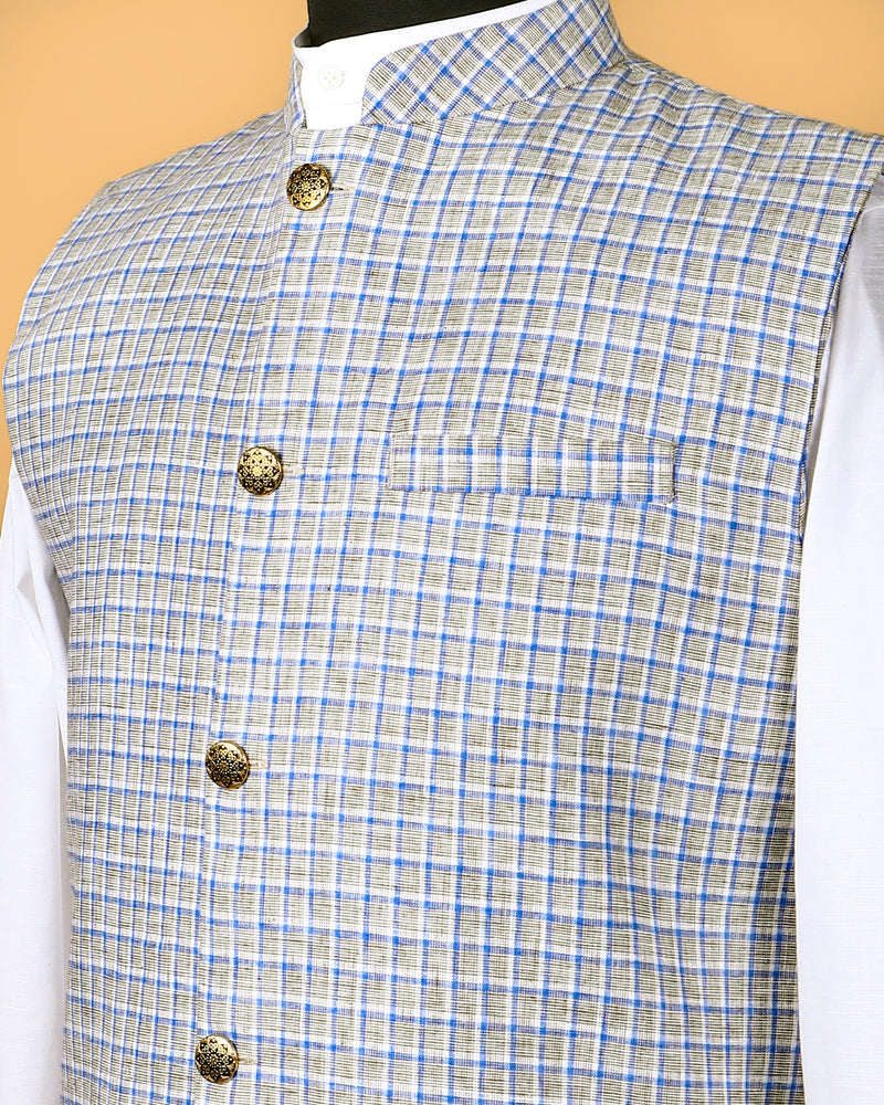 Cream Checked Linen-Jute Blend Nehru Jacket
