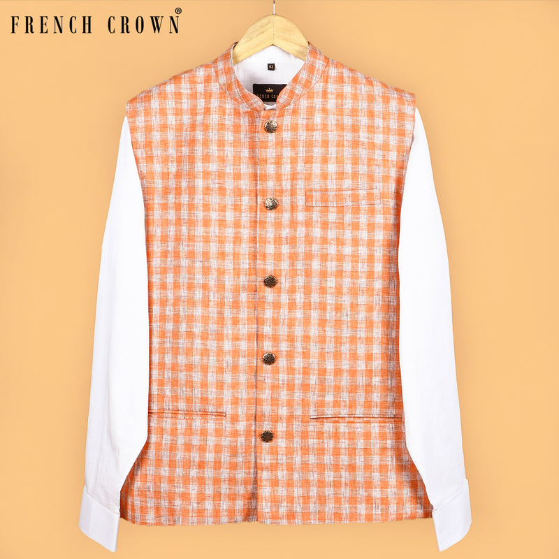 Orange Checked Linen-Jute Blend Nehru Jacket