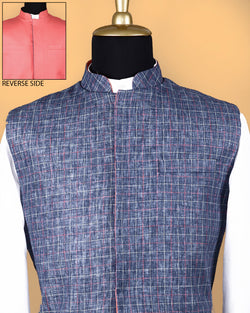 Denim Windowpane Linen-Jute Blend Reversible Nehru Jacket