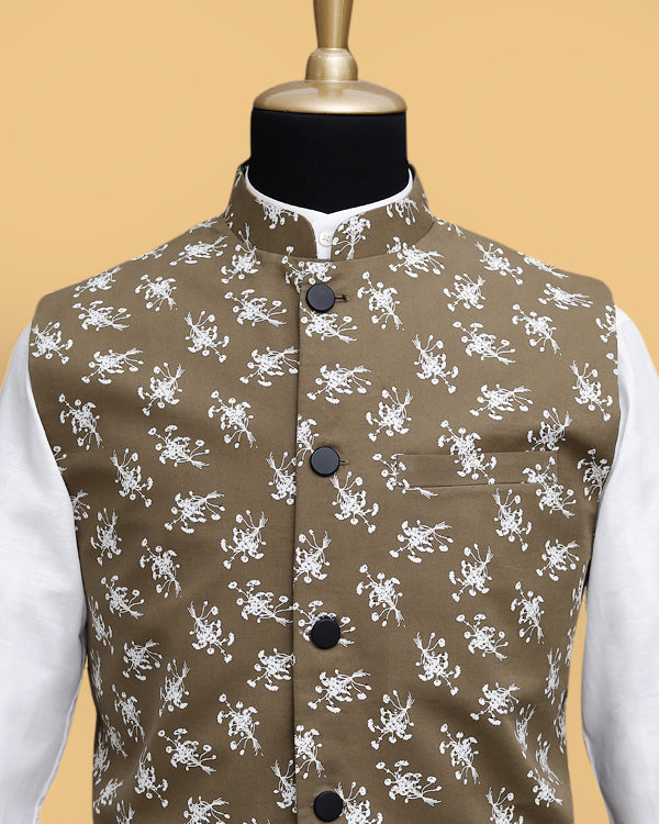 Olive flower Printed Premium Cotton Nehru Jacket