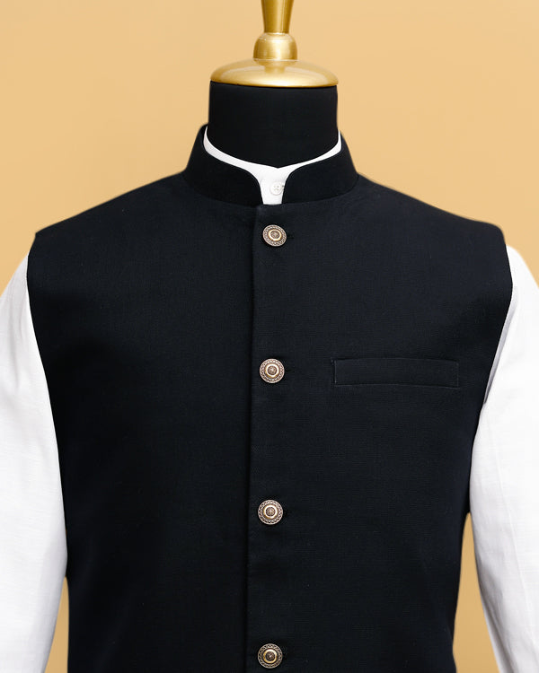 Matt Black Premium Cotton Nehru Jacket