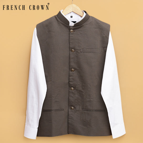 Brown textured Premium Cotton Nehru Jacket