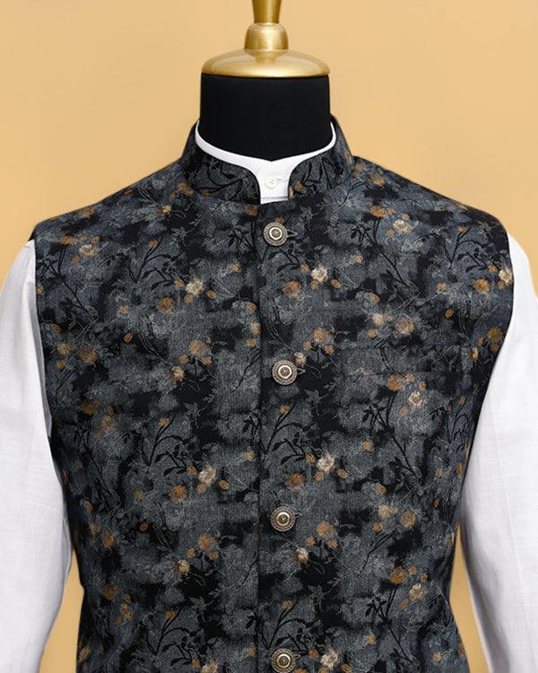 Black Printed Premium Cotton Nehru Jacket