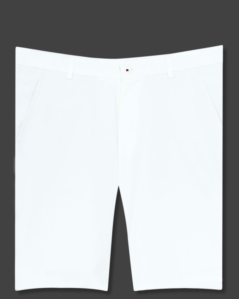 Milky White Regular fit Cotton Shorts