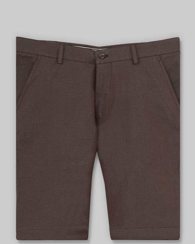 Reddish Brown Checked regular fit Cotton Shorts