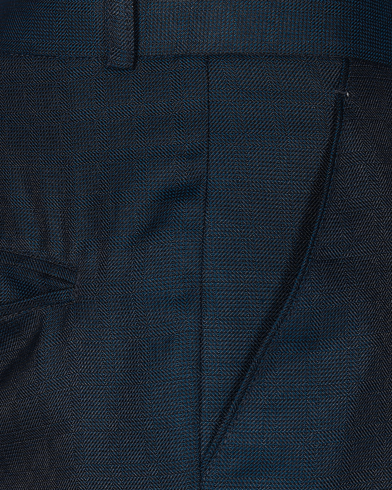 Navy Subtle Windowpane textured Terry Rayon Trouser
