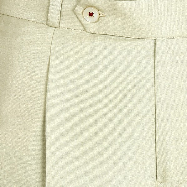 Cream Pleated Regular fit Formal Pant