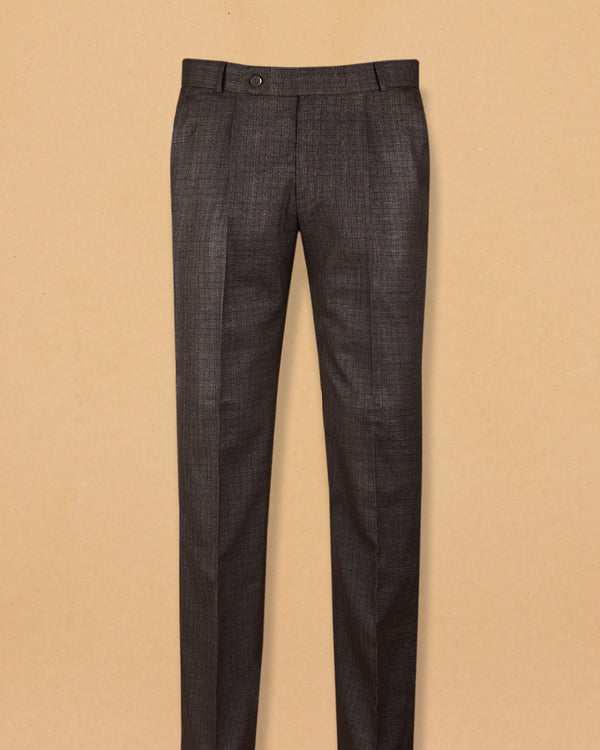 Oak Brown Checked Pleated Formal Pant