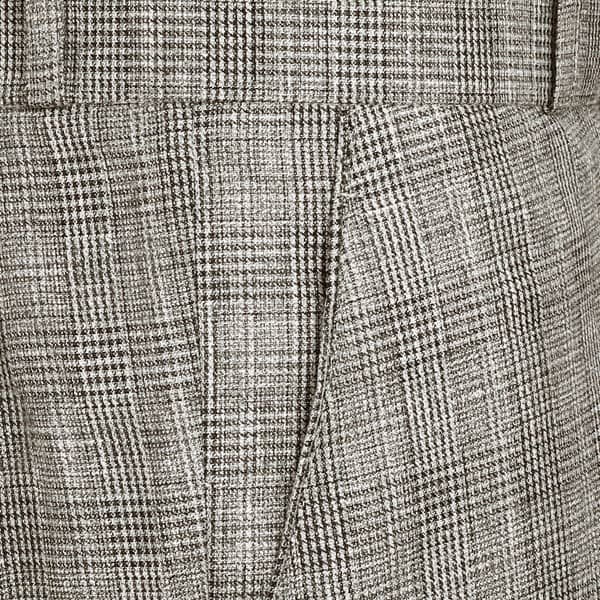 Light Brown Checked Flat-front Formal Pant