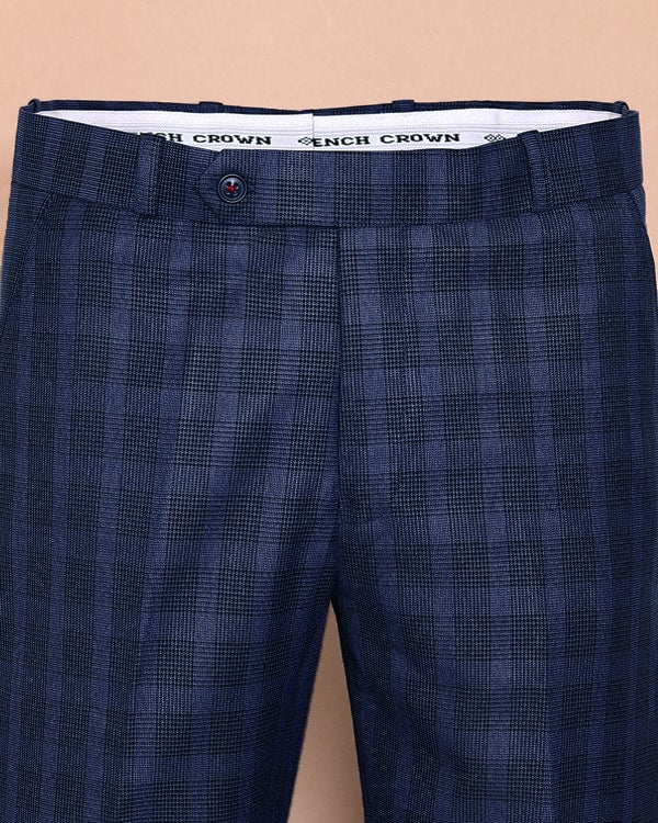 Royal Blue Broad Checked Flat-front Formal Pant