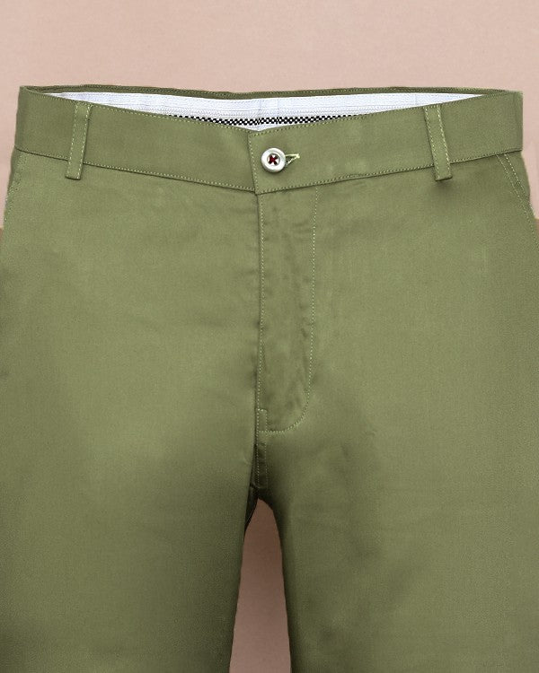 Crocodile green Regular fit Cotton Chino