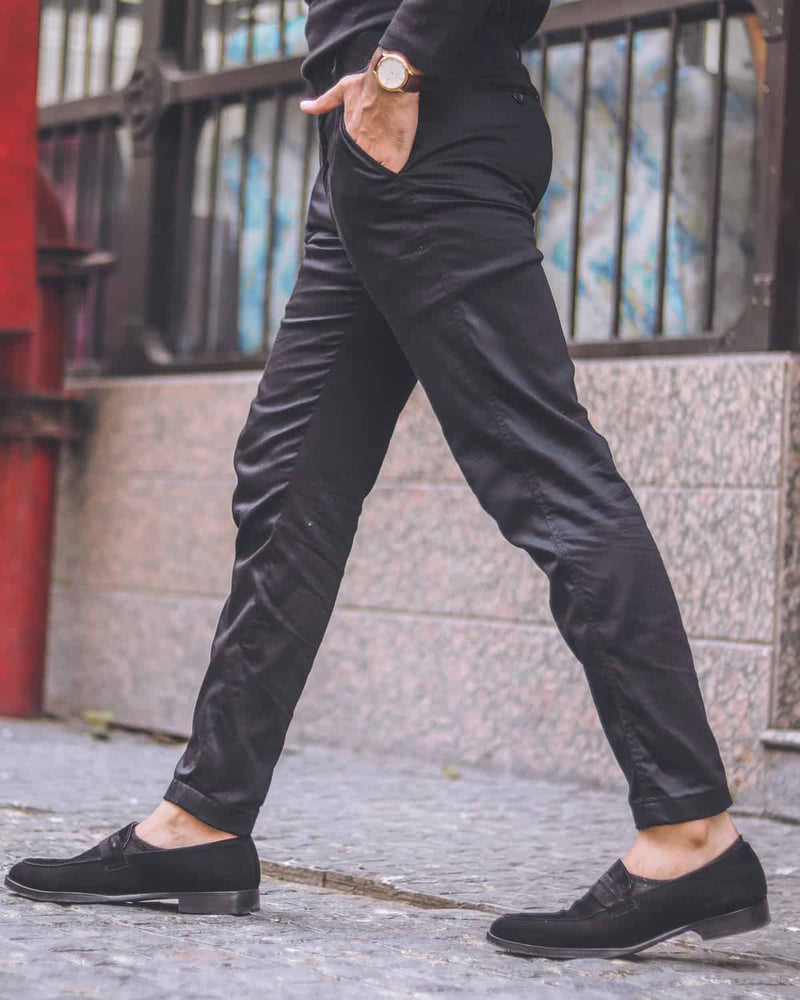Ink Black Regular fit Cotton Pant