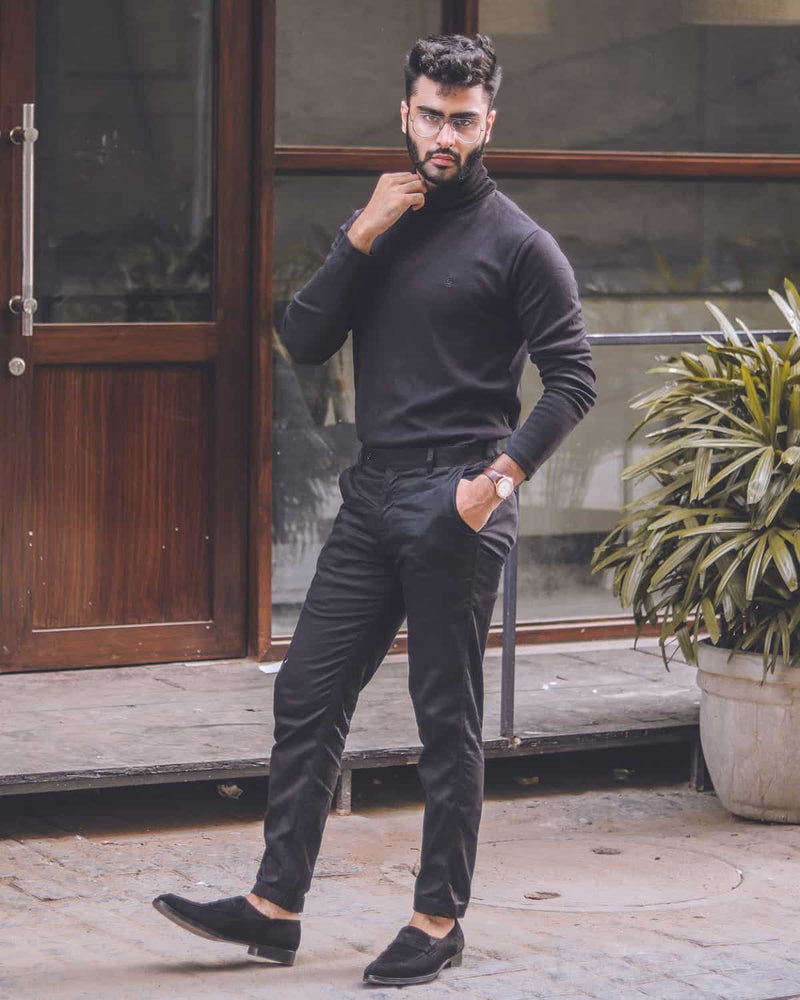 Ink Black Regular fit Cotton Trouser