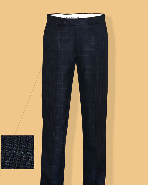 Navy with Aqua Checked Regular fit Tere-Rayon Formal Pant