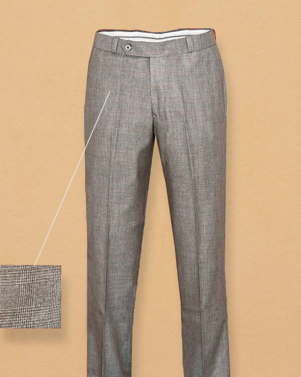 Brownish Grey Checked Formal Pant
