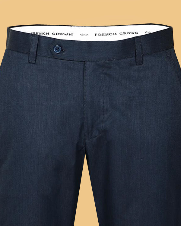 Royal Blue Regular fit Formal Cotton Pant