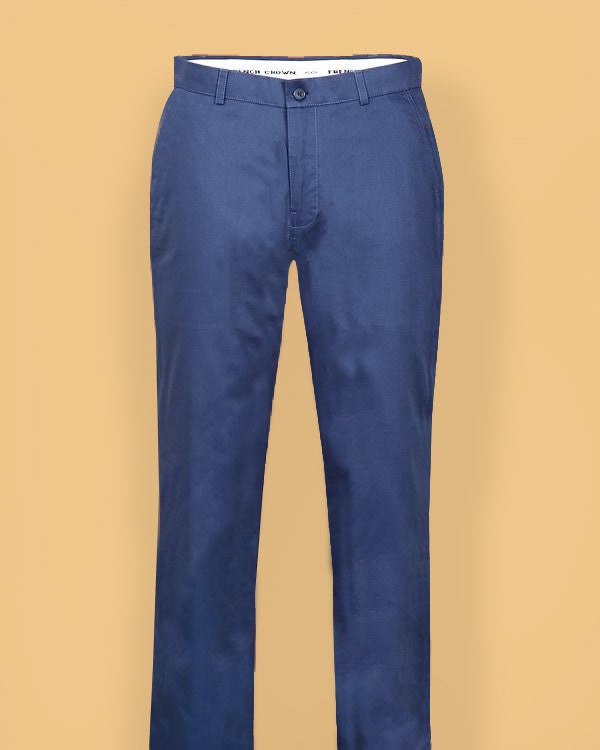 Steel Blue Regular fit Formal Cotton Trouser