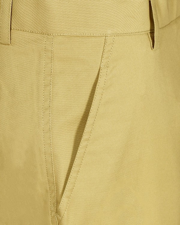 Creamy Yellow Regular fit Stretchable Cotton Trouser