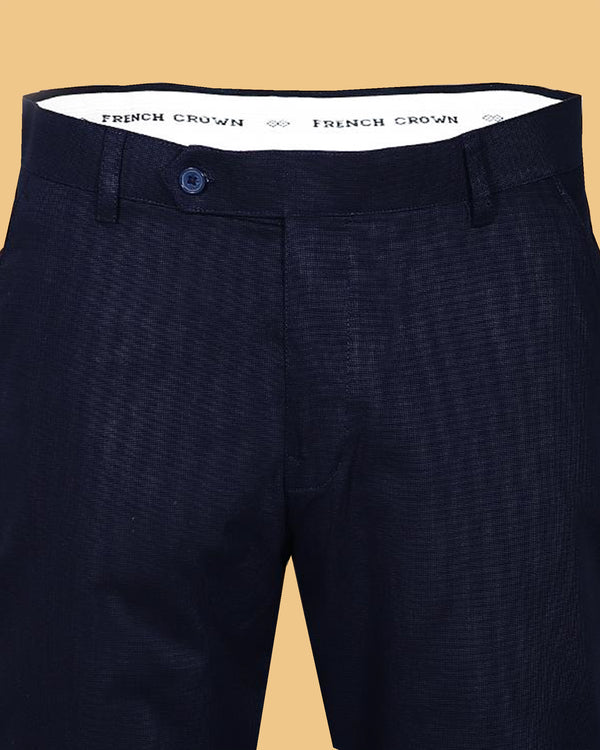 BLACKISH NAVY REGULAR FIT COTTON PANT