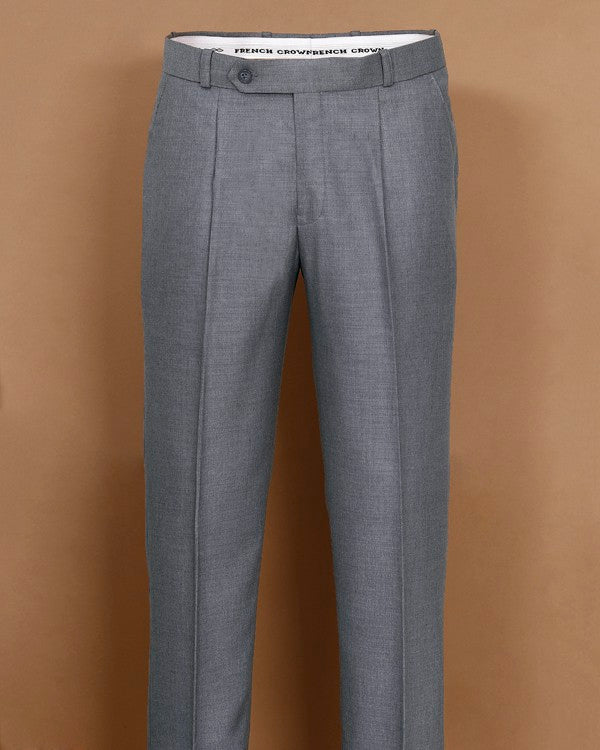 Iron Grey Textured Regular fit Tere-Rayon Formal Pant