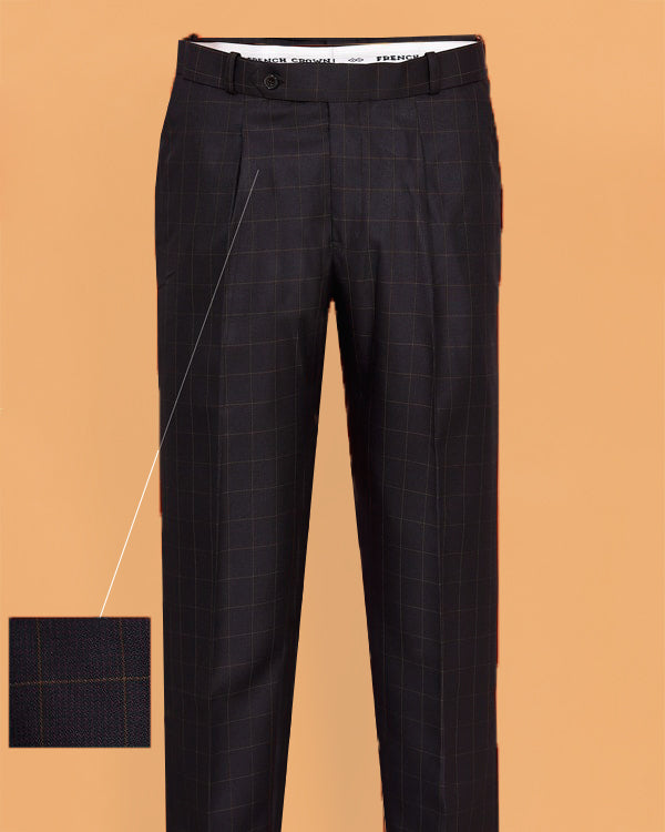 Maroon with Brown Checked Regular fit Tere-Rayon Formal Pant