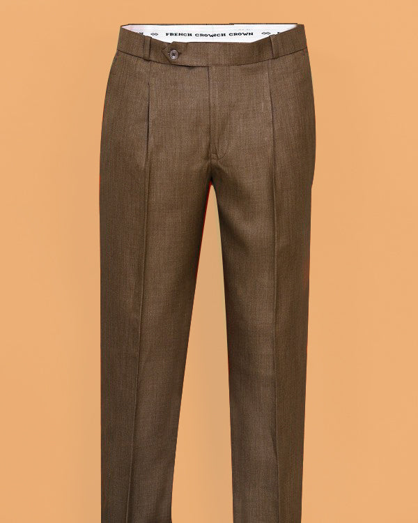 Brown Textured Regular fit Tere-Rayon Formal Pant
