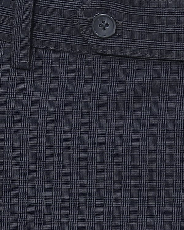 Iron Blue Checked Regular fit Cotton Trouser