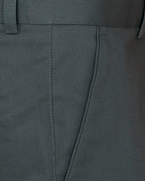 Sage Green Textured Regular fit Cotton Trouser