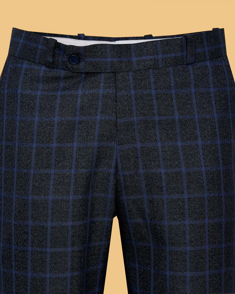 Navy Checked Formal Pant