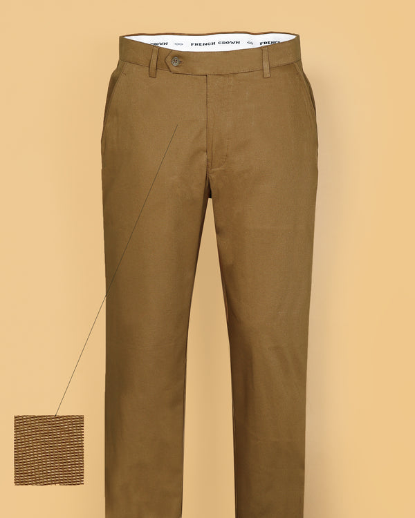 Khaki Regular fit Cotton Pant