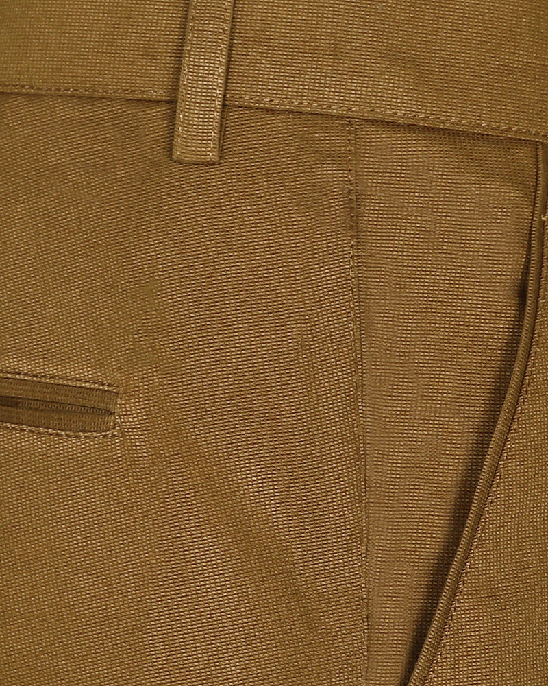 Khaki Regular fit Cotton Trouser