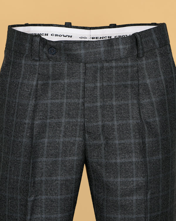 Grey Checked Pleated Formal Pant