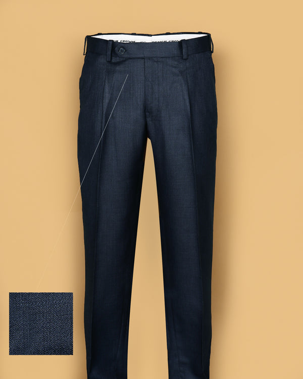 Navy Regular fit Tere-Rayon Formal Pant