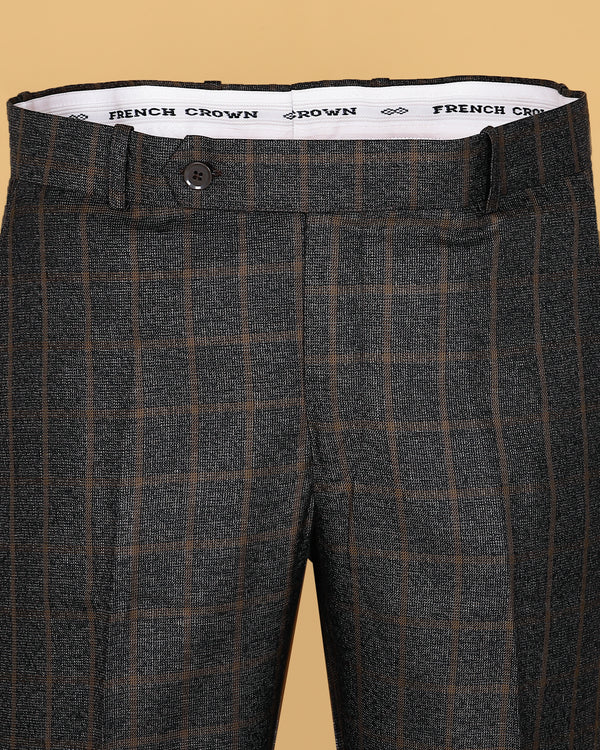 Brown Checked Pleated Formal Pant